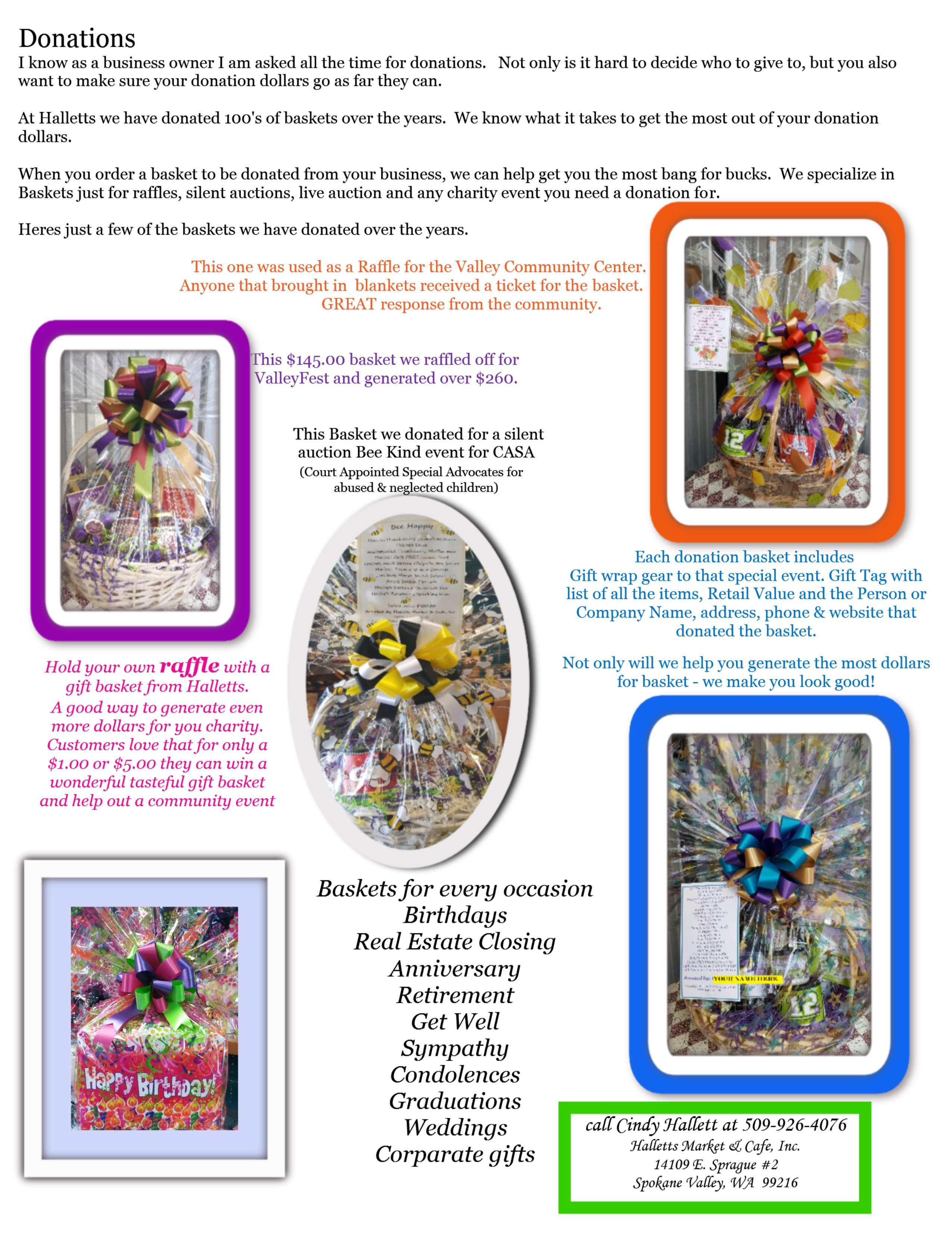 Tasteful Gifts Baskets for every occasion – Call and let us custom make a basket that conveys your sentiments, in a price range that works for you.